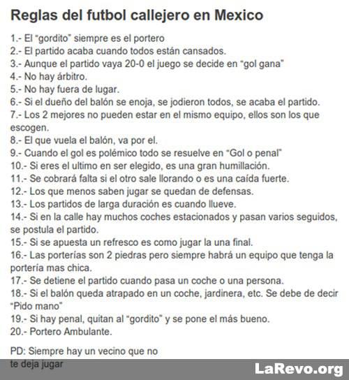 Worksheet. reglas del futbol callejero en Mexico  Soy un yonki