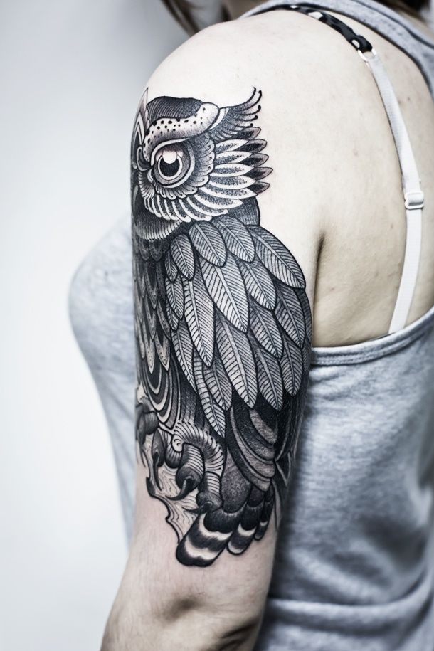 Owl-arm-shoulder-tattoo