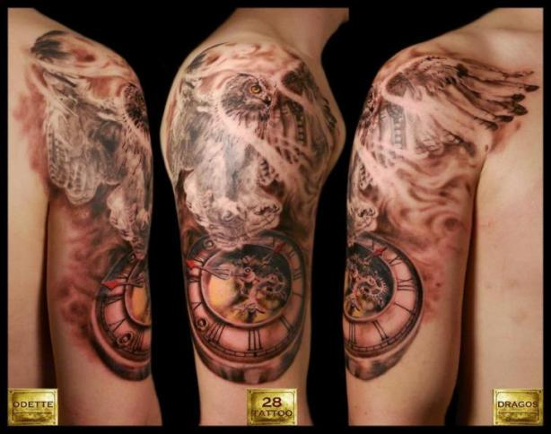 tattoo-shoulder-owl-clock